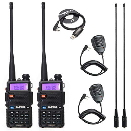 2 Pack Baofeng UV-5R 5W 2M/70CM VHF UHF Ham Radio Portable Two Way Radio 136-174/400-520MHz Walkie Talkie with 2 Pack Speaker+1 Pack Programming Cable+2 Pack 771 Antenna (【Set 2】 Black)