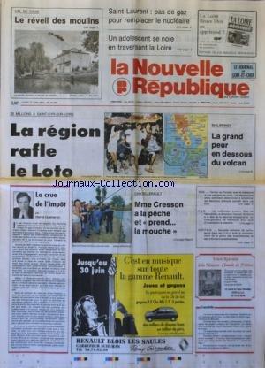 NOUVELLE REPUBLIQUE (LA) [No 14192] du 17/06/1991 - 25 MILLIONS A SAINT-CYR-SUR-LOIRE / LA REGION RAFLE LE LOTO - MME CRESSON A LA PECHE A CHATELLERAULT - INDE / TERREUR AU PENDJAR AVEC...