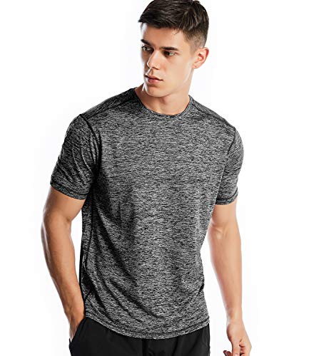 Men's Dri Fit Workout Short Sleeve T Shirt Athletic Performance Shirts for Men(21-Marled Charcoal, XL)