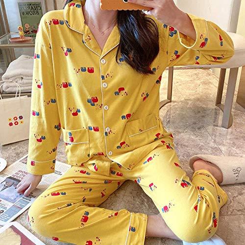 ZXXFR Pijamas de Mujer Pantalón de Manga Larga Estampado de algodón con Solapa, Elefante Rojo, L Conjuntos de Pijama 2 Piezas,cómodo y Transpirable Suave Ropa