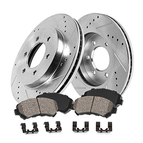 Callahan CDS06897 FRONT 290mm Drilled/Slotted 6 Lug [2] Rotors + Ceramic Brake Pads + Clips