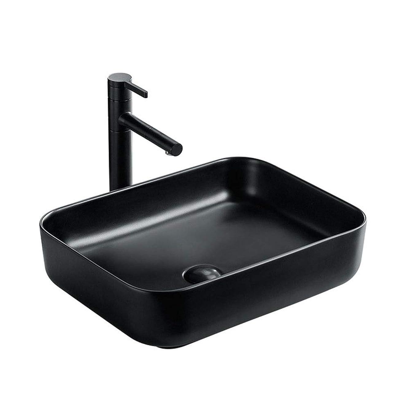 マニアック値ジョガー洗面ボウル バスルームマットブラックセラミック洗面台はホテルのトイレに適用されます 節水 室内 室外 浴室用 (Color : Black, Size : 8012(40x40x14cm))