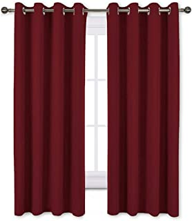 NICETOWN Burgundy Red Blackout Draperies Curtains - Thermal Insulated Solid Grommet Blackout Curtains/Panels/Drapes for Christmas & Thanksgiving Present (1 Pair, 52 by 63-Inch)