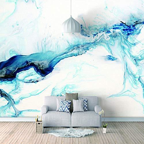 Papel Pintado 3D Murales - Acuarela Azul- Fotomurales Para Salón Natural Landscape Foto Mural Pared, Dormitorio Corredor Oficina Moderno Mural 250X175Cm