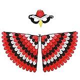 Kristy Disfraz de alas de loro, fieltro, disfraces de loro con manto de pájaro y máscaras de pájaro, para niña niña de máscaras, fiesta, rendimiento de rol, 100 cm