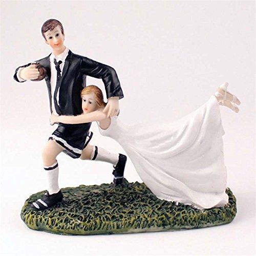 Zantec taartdecoratie voor bruiloften, paren, figuur van kunsthars, voetbal, 6,7 x 5,3 x 3,1 inch