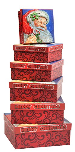Christmas Gift Boxes 6 Piece Nesting Christmas Holiday Box Set with Santa Claus Merry Xmas - Great for Wrapping Presents or as a Decoration (Square Box)