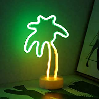 MYGOTO Coconut Palm Tree Neon Signs Night Light LED Neon Light Sign with Holder Base for Party Supplies Table Decorations Kids Room Wedding Party Decor Children Kids Gifts (Palm Tree with Holder)