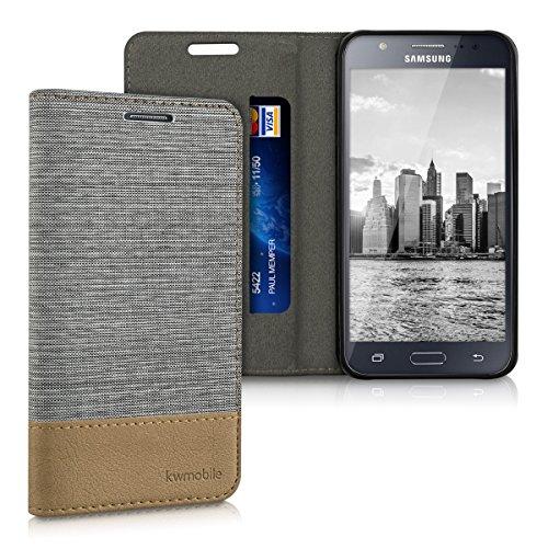 kwmobile Hülle kompatibel mit Samsung Galaxy J5 (2015) - Stoff Handy Schutzhülle - Flip Cover Hülle Hellgrau Braun