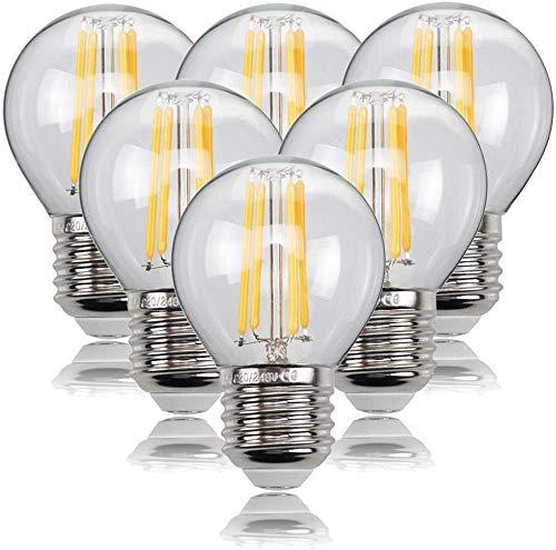 HISAYSY LED Filament Lampe E27, 6W LED Edison G45 Leuchtmittel 470 Lumen, ersetzt 60W Glühfadenlampe, 2700K Warmweiß Glühbirne, 6er Pack [Energieklasse A++]