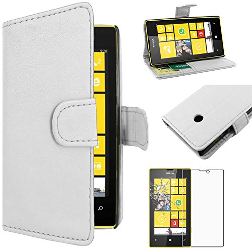ebestStar - Cover Compatibile con Nokia Lumia 520 Custodia Portafoglio Pelle PU Protezione Libro Flip, Bianco + Pellicola Vetro Temperato [Apparecchio: 119.9 x 64 x 9.9mm, 4.0'']