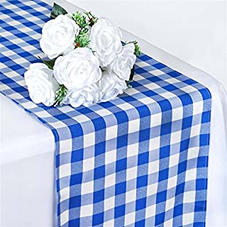 BalsaCircle 14 x 108-Inch Blue Gingham Checkered Table Top Runner - Wedding Party Event Reception Occasions Linens Decorations