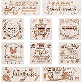 10 Plantillas de Granja Plantillas de Pintura con Tema de Vacas Calabazas Camiones para Hacer Tarjetas Artísticas DIY Diario Álbum de Recortes Mueble Pared Piso Pintura en Tela Madera