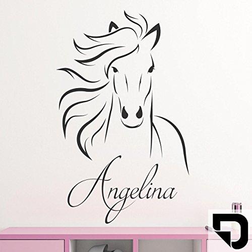 DESIGNSCAPE® Wandtattoo Pferd mit Wunschname Anmutiger Pferdekopf für's Kinderzimmer 60 x 75 cm (Breite x Höhe) schwarz DW808146-M-F4