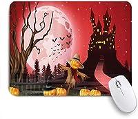 VAMIX マウスパッド 個性的 おしゃれ 柔軟 かわいい ゴム製裏面 ゲーミングマウスパッド PC ノートパソコン オフィス用 デスクマット 滑り止め 耐久性が良い おもしろいパターン (かかしハロウィーン怖い雰囲気のパンプキンズでお化けのシャトー)
