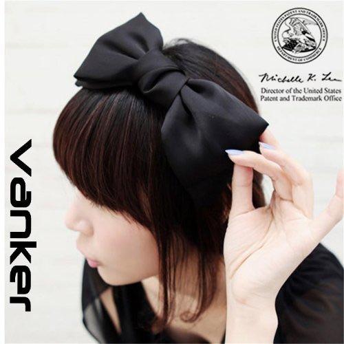 DDU Modisch Süß Koreanisch Stil Große Schleife Stirnband Haarschmuck Schwarz
