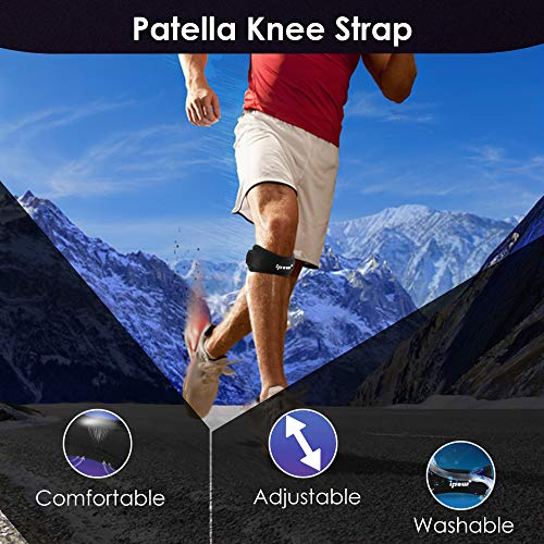 IPOW 2 Pack Knee Pain Relief & Patella Stabilizer Knee Strap Brace Support for Hiking, Soccer, Basketball, Running, Jumpers Knee, Tennis, Tendonitis, Volleyball & Squats, Black