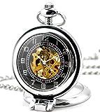 infinite u - orologio da tasca con quadrante con meccanismo a vista e lente d'ingrandimento ad angolo retto. in acciaio, con movimento meccanico - colore: argento