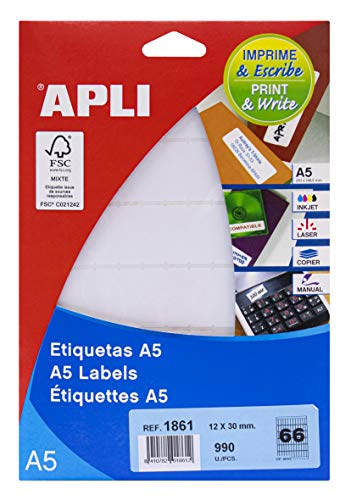 APLI 1861 - Etiquetas A5 blancas 12,0 x 30,0 mm 15 hojas