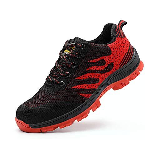 Zapatos De Seguridad para Hombre con Puntera De Acero Mujer Calzado De Trabajo Zapatos De Deportivos Transpirables Construcción Botas Trekking Blackred 41