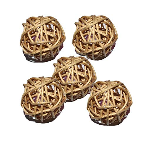 Lampshade Lighting Rattan Wicker Cane Dia 5cm Balls for Garden Patio,Wedding,Party Decoration, DIY for Thailand Style String Lights (Body Color : Golden)