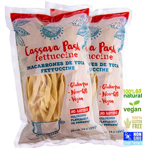 Gluten Free Paleo Fettuccine Pasta - Made With Cassava (Yuca) Only - Vegan - NonGMO - 2 pack (2 x 8.8 oz) - Single Ingredient Cassava - Heart And Muscle Healthy