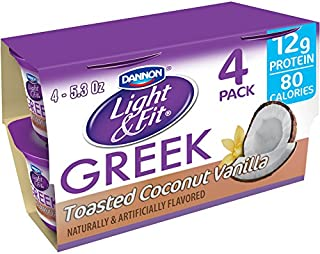 Dannon Light & Fit Nonfat Greek Yogurt, Toasted Coconut Vanilla, 5.3 Ounce (4 Pack) Greek Yogurt Cups