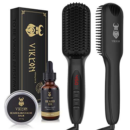 Beard Straightener w/FREE Beard Oil and Beard Balm for Men, Ceramic & Ionic Beard Straightening Comb, Fast Heated Hair Straightener Brush for Men&Women-Anti-Scald/LCD Display