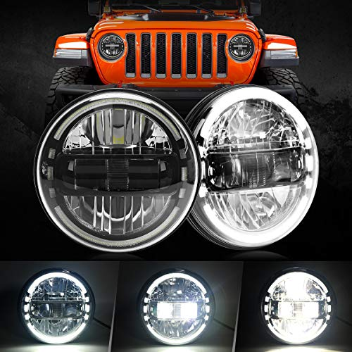 2021 Newest 7' inch Round LED Headlight Headlamps with Daytime Running...