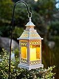Ninganju 15 Inches Tall Rustic Decorative Lantern White Metal Antique Outdoor Hanging Lanterns for Wedding, Patio Parties, Indoor/Outdoor Decorative