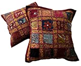 Juego de 2 fundas para cojín, diseño de patchwork indio, algodón, Maroon, 16 X 16 Inches