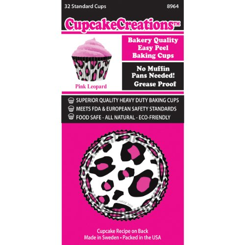 Cupcake Creations BKCUP-8964 Standard Cupcake Baking Cup, Pink Leopard, 32-Pack