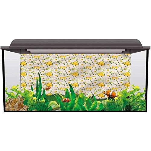 bybyhome PVC Aquarium Background Daffodil,Freesia Hyacinth Vintage Thicken PVC Adhesive Fish Tank...