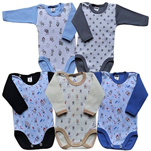 MEA BABY Unisex Baby Langarm Body aus 100% Baumwolle im 5er Pack, Baby Langarm Body mit Print, Baby Langarm Body mit Aufdruck, Baby Langarm Body für Mädchen, Baby Langarm Body für Jungen (98, Jungen)