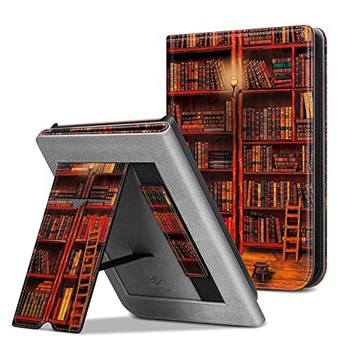 Fintie Hülle für Pocketbook Touch HD 3 / Touch Lux 4 / Touch Lux 5 / Basic Lux 2 / Color (2020) e-Book Reader - Kickstand Schutzhülle mit Kartenfach, Handschlaufe & Auto Wake/Sleep, die Bibliothek