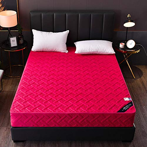GTWOZNB Microfibre Flat Sheet - No-Iron Bed Sheet is Breathable,Soft All-inclusive bed sheet one-piece zipper-rose red_1.8X2m