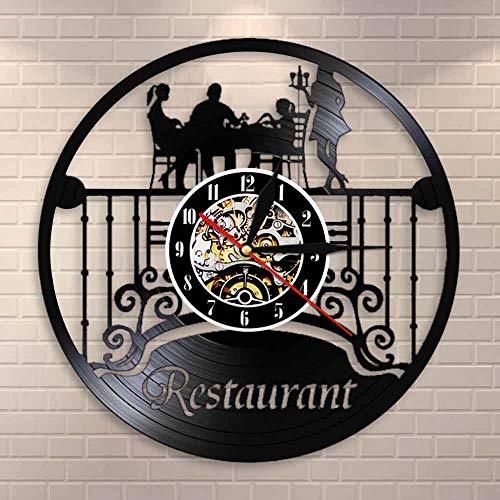 fdgdfgd Negro Retro CD Reloj Hotel Pared Arte Reloj de Pared