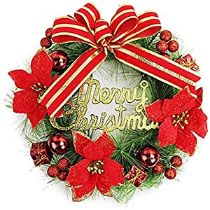 DIELUNY Merry Christmas Flower Wreath with Bows Front Door Wreath Wall Wedding Home Decoration Grave Wedding