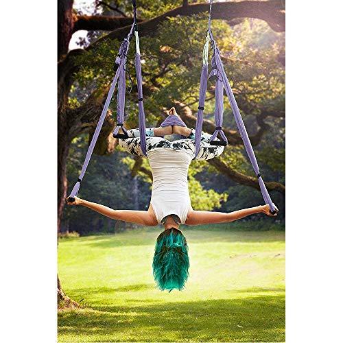 MQSS Columpio Tela Yoga, Hamaca de Yoga Tafetán de Nailon con mosquetón y Cadena de Margaritas para Colgarse y Aliviar el Dolor de Espaldapurple