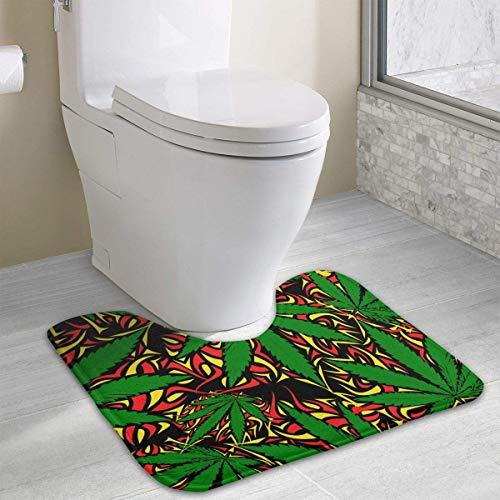 Uosliks Alfombra de baño diseño de Hojas de Arce Verde y Contorno, de poliéster, en Forma de U, Antideslizante
