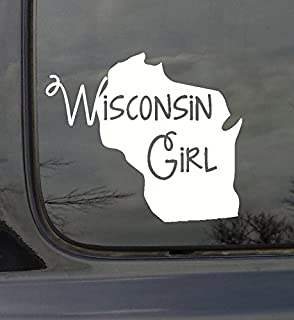 Wall Decor Plus More WDPM3038 State Girl Silhouette Wisconsin Vinyl Car Decal, White