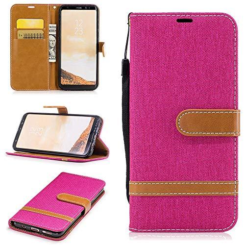 Capa carteira Xperia XA1 Plus [jeans] couro PU flip suporte suporte alça de mão capa capa para Sony Xperia XA1 Plus - rosa vermelho