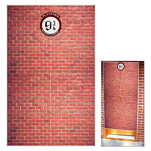 """Platform 9 And 3/4 King's Cross Station, Door Curtains, Red Brick Wall Backdrop Vinyl 78.7""""x 49.2"""" Inch For Magic Wizard Sesame Street Backdrop Party Decorations Baby Shower Photography"""
