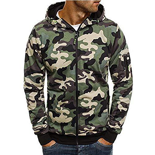 Susenstone Sweatshirt Long Hoodie Camouflage Imprimé Sweats A Capuche à Fermeture Zippé Pullover A Manche Longues Tops Blouse (XL, Vert)