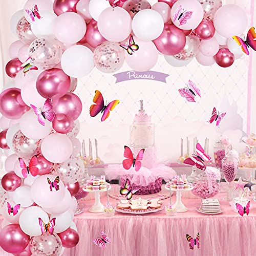 GRESAHOM Balloon Arch Kit Garland, Metallic Pink White Balloons Set Rose Red Confetti Balloons with 12pcs 3D Butterflies, Party Decoration Balloon for Birthday Baby Shower Wedding Graduation Girl