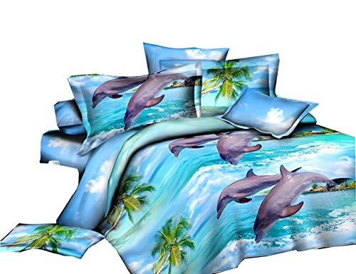 Jumping Dolphin Printed 4Pcs Bedding Polyester Bedclothes Duvet Cover Set Queen Size