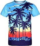 COSAVOROCK Camisetas Hawaianas de Manga Corta Casual Aloha Playa para Hombre Beach Azul XXL