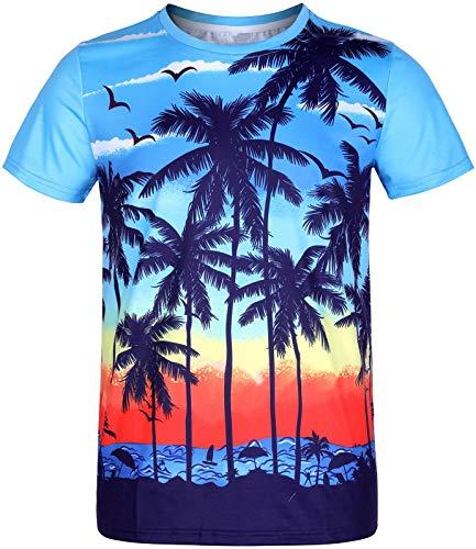 COSAVOROCK Magliette Hawaiana di Uomo Manica Corta 3D Stampata T-Shirt Funky Spiaggia Casual Tee Shirt Beach Blu L