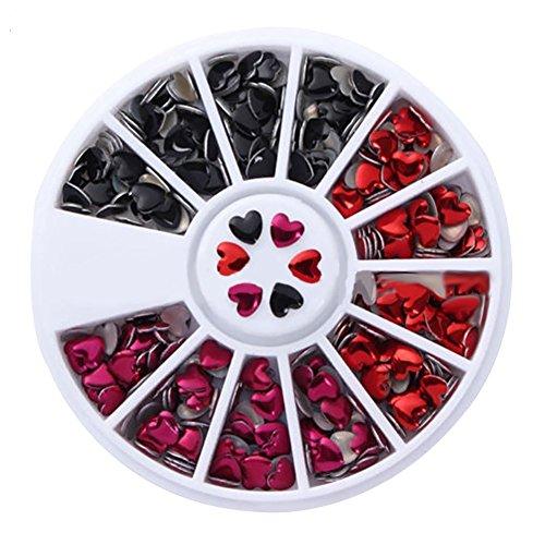 Amour en forme de cœur en métal Rivet DIY Nail Art Couleurs mélangées Stickers 1 roue Box
