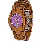 Maui Kool Wooden Watch Hana Collection for Women Analog Wood Watch Bamboo Gift Box (B6 - Zebra Lavender)